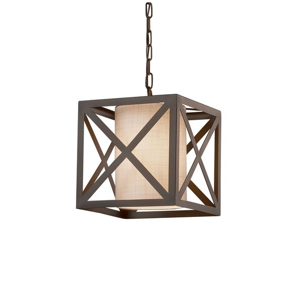 Justice Design Group Textile Hexa 1-light Dark Bronze Pendant, White Shade