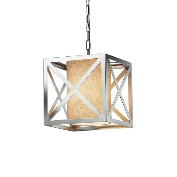 Justice Design Group Textile Hexa 1-light Polished Chrome Pendant, Cream Shade