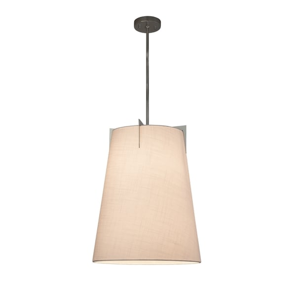 Justice Design Group Textile Midtown 2-light Brushed Nickel Pendant, White Shade