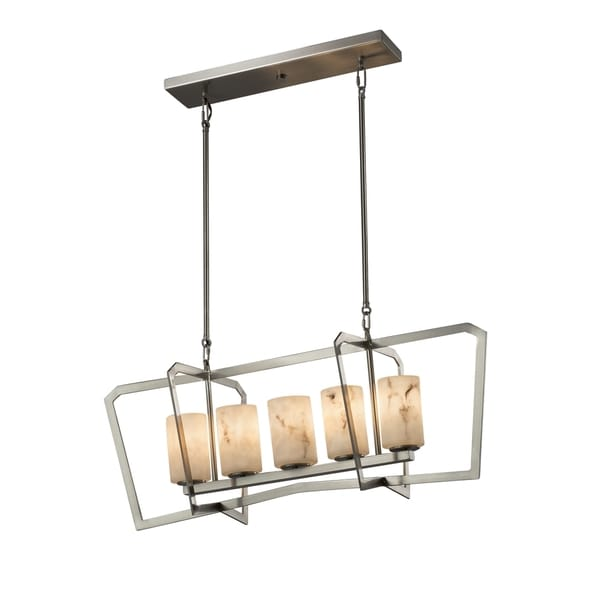 Justice Design Group LumenAria Aria 5-light Brushed Nickel Chandelier, Faux Alabaster Cylinder - Flat Rim Shade