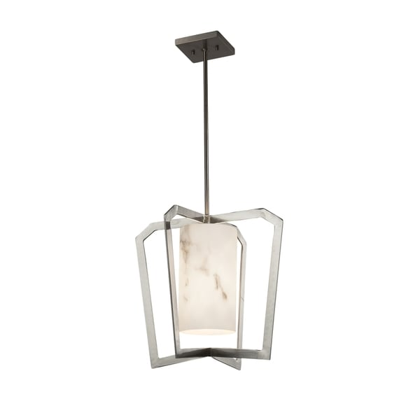 Justice Design Group LumenAria Aria 1-light Brushed Nickel Chandelier, Faux Alabaster Shade