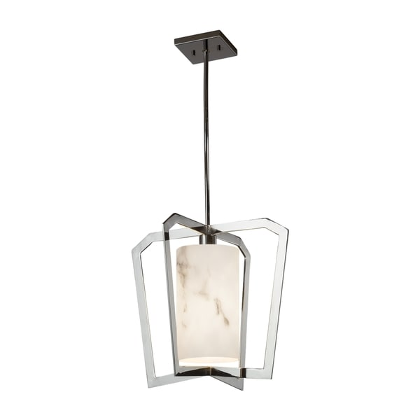 Justice Design Group LumenAria Aria 1-light Polished Chrome Chandelier, Faux Alabaster Shade