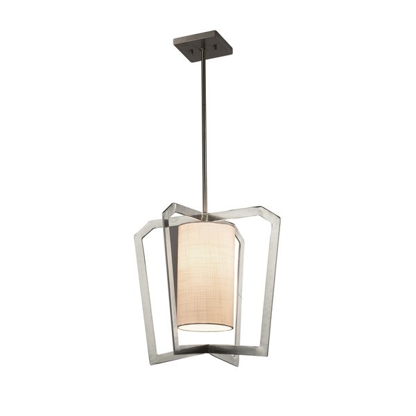 Justice Design Group Textile Aria 1-light Brushed Nickel Chandelier, White Shade