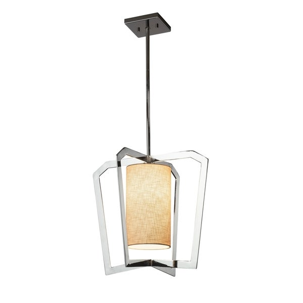 Justice Design Group Textile Aria 1-light Polished Chrome Chandelier, Cream Shade
