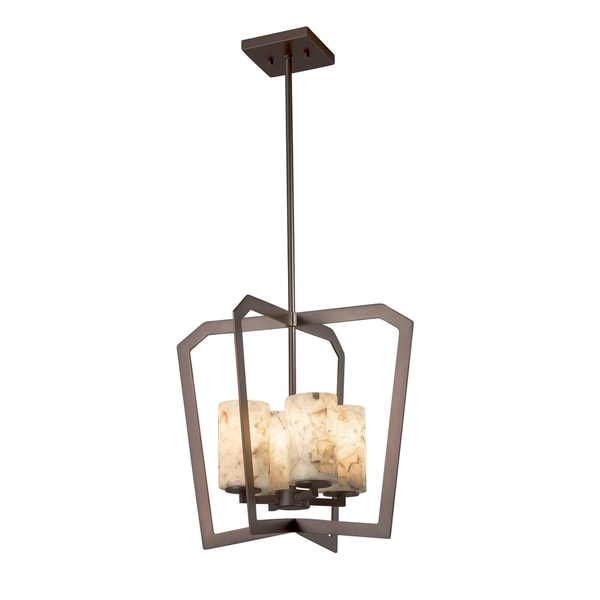 Justice Design Group Alabaster Rocks Aria 4-light Dark Bronze Chandelier, Cylinder - Flat Rim Shade