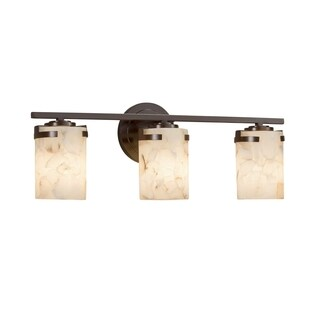 Justice Design Group Alabaster Rocks Atlas 3-light Dark Bronze Bath Bar, Cylinder - Flat Rim Shade