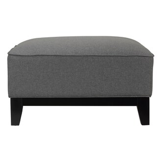 Cortesi Home Voxie Grey Linen Fabric Square Cocktail Ottoman