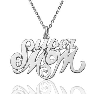 """Sterling Silver """"Super Mom"""" Pendant with Chain"""