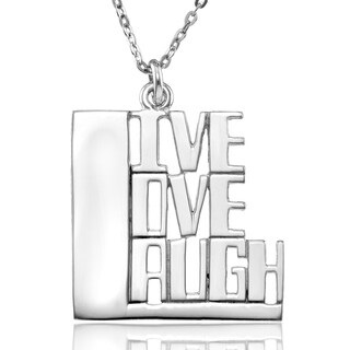 "Sterling Silver ""LIVE LOVE LAUGH"" Pendant with Chain"