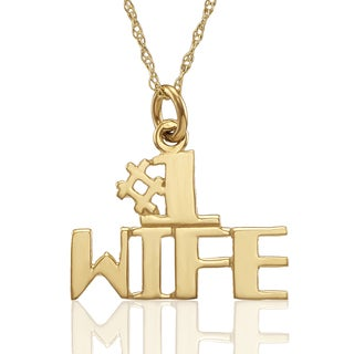 "10K Yellow Gold ""#1 WIFE"" Pendant with Chain"