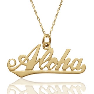 "10K Yellow Gold ""Aloha"" Pendant with Chain"
