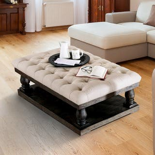 Furniture Of America Lorence Tufted Plank Style Weathered Walnut Coffee Table