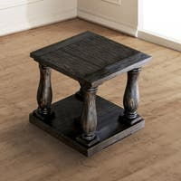 Furniture of America Lorence Plank Style Weathered Walnut End Table