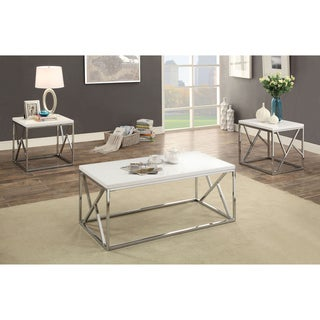 Furniture of America Kuzi Contemporary 3-Piece Chrome/White Coffee and End Table Set