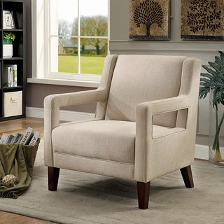 Furniture of America Lelani Contemporary Ivory Linen-like Fabric Accent Chair