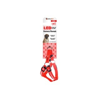 Simple Pet LED Dog Harness in Red, Large