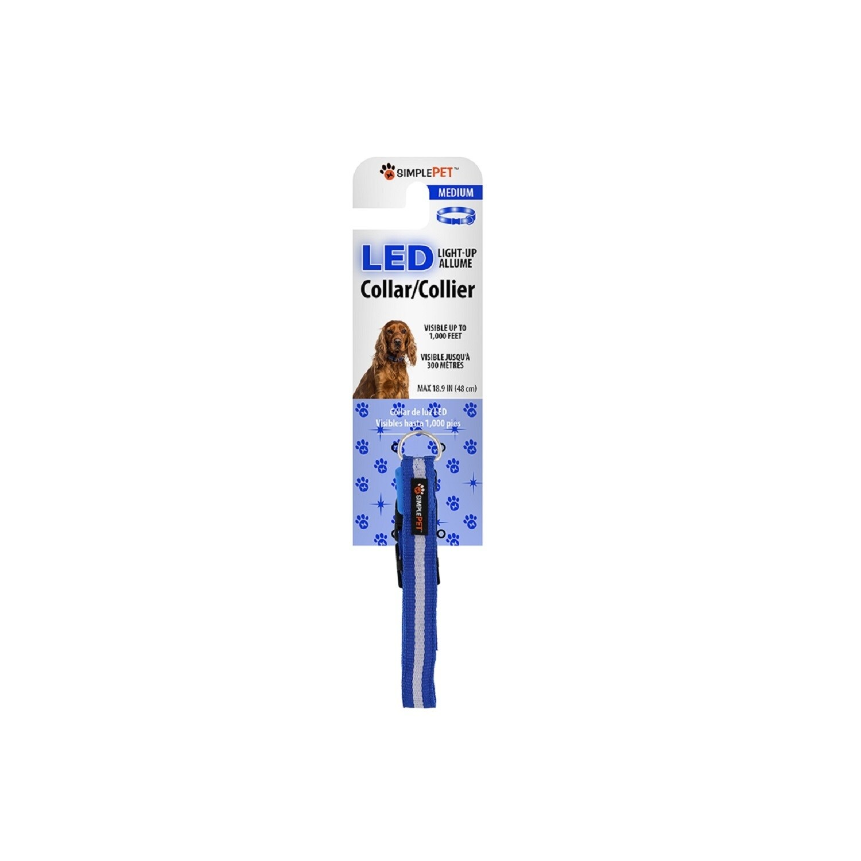 XTREME Simple Pet LED Flashing Dog Collar in Blue, Medium