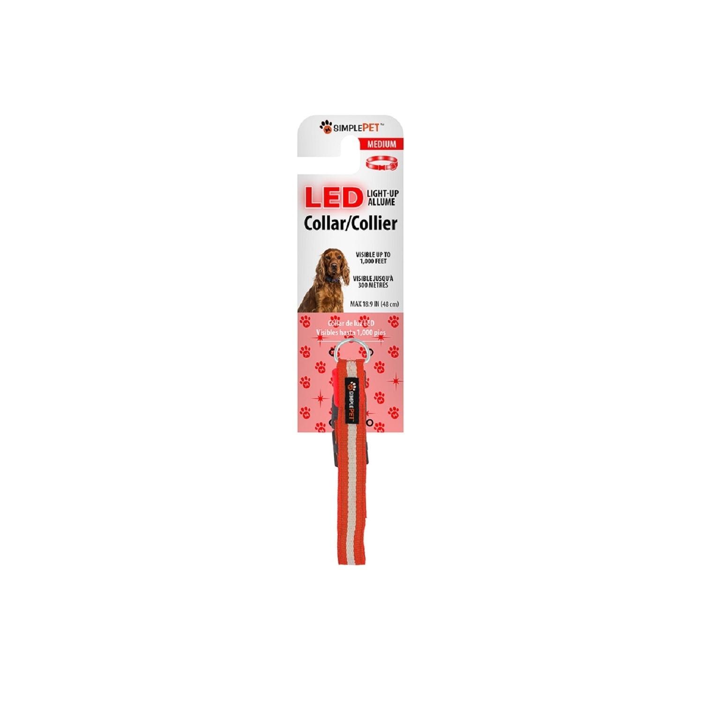 XTREME Simple Pet LED Flashing Dog Collar in Red, Medium