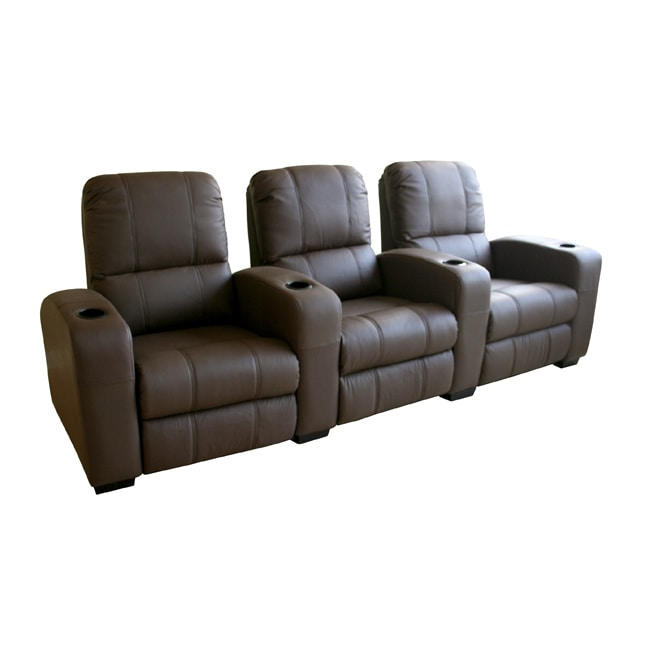 Brown Leather 3 Seat Recliner Home Theater Seating Free
