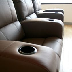 Brown Leather 3-seat Recliner Home Theater Seating - Thumbnail 1