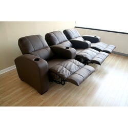 Brown Leather 3-seat Recliner Home Theater Seating - Thumbnail 2