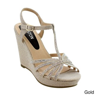 Beston ID68 Women's Glitter T-strap Cage Platform Wedge Sandal Half Size Smaller (4 options available)