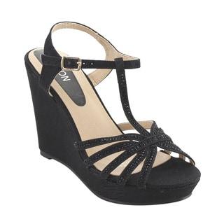 Beston ID68 Women's Glitter T-strap Cage Platform Wedge Sandal Half Size Smaller