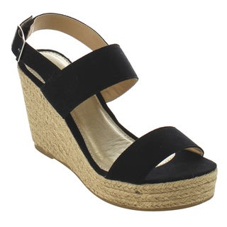 Beston IE02 Women's Double Strap Sling Back Espadrille Platform Wedge