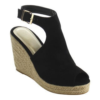 Beston IE01 Women's Buckle Ankle Strap Backless Espadrille Wedge Sandal