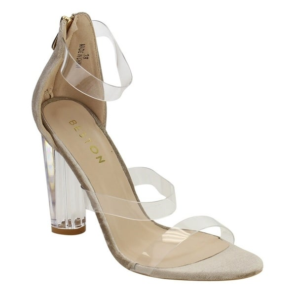 Beston DE56 Women's Lucite Clear Zip Ankle Strap Sandals One Size Big. Opens flyout.