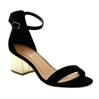 Beston FH76 Women's Single Band Ankle Strap Chunky Heel Dress Sandals