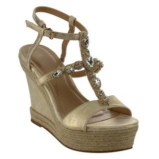 Beston ID89 Women's Rhinestone T-strap Espadrille Platform Wedge Sandal
