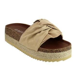 Beston FJ28 Women's Platform Wedge Heel Espadrilles Ruched Slides Sandals