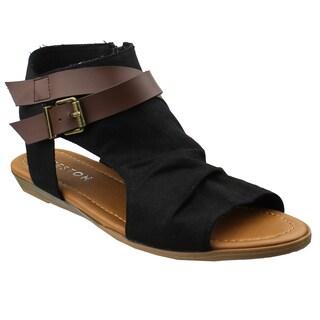 Beston AF85 Women's Criss Cross Backless Cutout Summer Sandals One Size Small