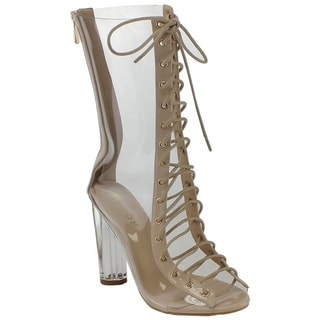 Beston DE57 Women's Peep Toe Corset Lace Up Block Clear Heel Mid-calf Boots