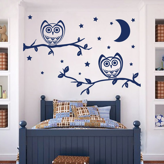 Owl Vinyl Sticker Moon Stars Interior Design Mural Kids Nursery Room Bedding Decor Decal 48 X 65 Color Black