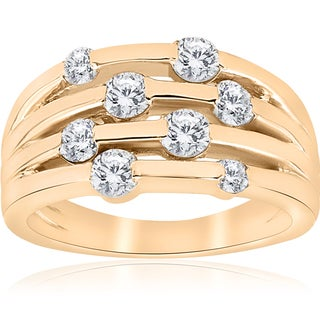 14k Yellow Gold 1 ct TDW Diamond Fashion Multi Row Right Hand Ring (I-J,I2-I3)