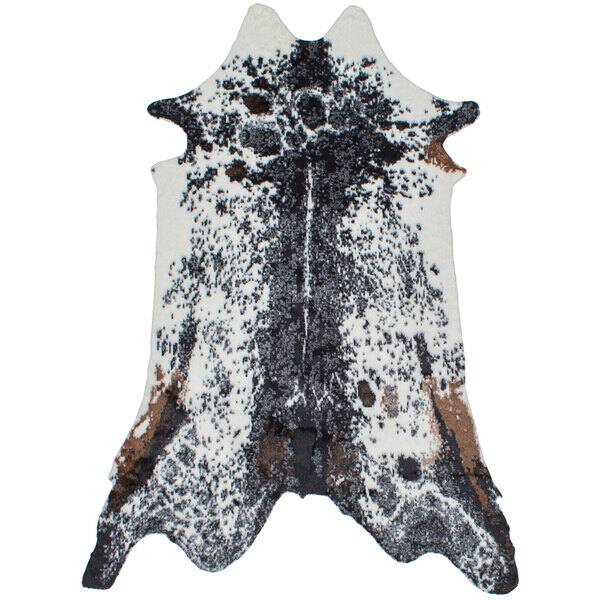 Ecarpetgallery El Paso Black Ivory Faux Cowhide Rug 5 X 8