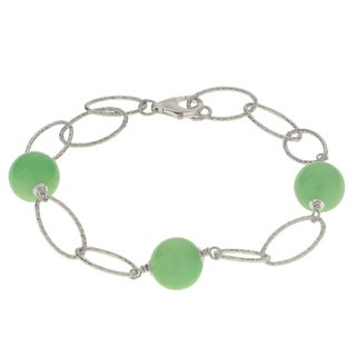 Gems For You Sterling Silver Textured Link Jade Bead Station Bracelet
