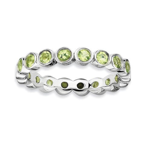 Sterling Silver Polished Stackable Peridot Ring by Versil