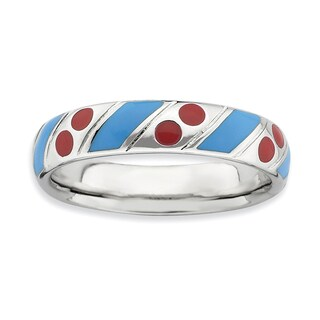 Sterling Silver Affordable Expressions Polished Blue/Red Enameled Ring