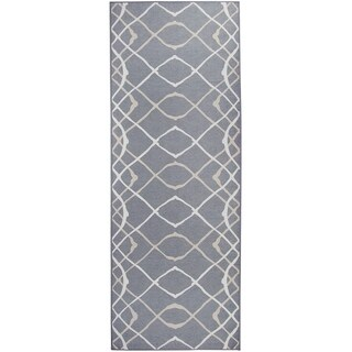 "RUGGABLE Washable Indoor/Outdoor Stain Resistant Runner Rug Amara Grey (2.5' x 7') - 2'6"" x 7'"