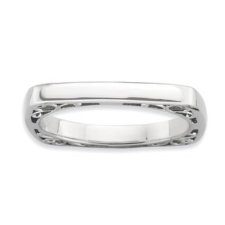 Sterling Silver Affordable Expressions Polished Rhod-plate Square Ring