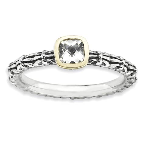 Sterling Silver and 14 karat Affordable Expressions Checker-cut White Topaz Ring