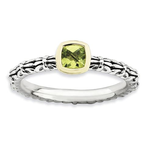 Sterling Silver and 14 Karat Affordable Expressions Checker-cut Peridot Ring