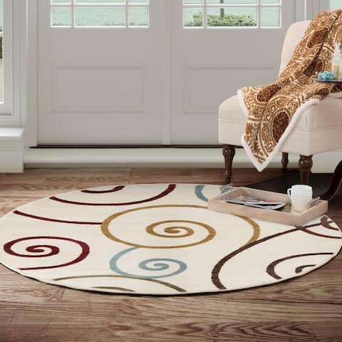 Round Area Rug, 5 Foot Stain Resistant Circle Rug by Windsor Home  (Accent Rug for Home Decor)
