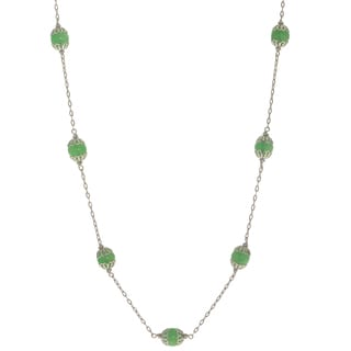 Gems For You Sterilng Silver Caged Jade Bead Station Necklace