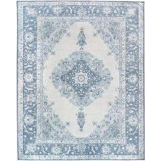 RUGGABLE Washable Indoor/ Outdoor Stain Resistant Pet Area Rug Parisa Blue (8' x 10') - 8' x 10'|https://ak1.ostkcdn.com/images/products/15409471/P21866199.jpg?impolicy=medium
