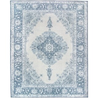 RUGGABLE Washable Indoor/ Outdoor Stain Resistant Pet Area Rug Parisa Blue (8' x 10') - 8' x 10'