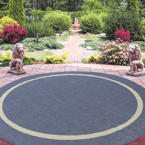 8 ft Round Area Rug, Indoor Outdoor Stain Resistant & Water Repellant by Windsor Home (Accent Rug for Home Decor) - 8' x 8'